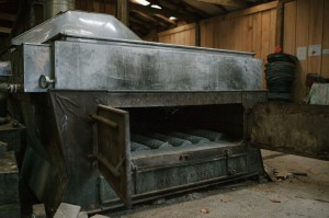 Logs will be loadedinto the wood-burning evaporator, where the sap will be boiled down into syrup.