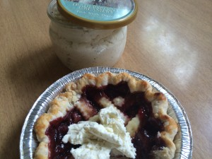 Strawberry balsamic pie from Lattice & Lard  topped with Traders Point Creamery.