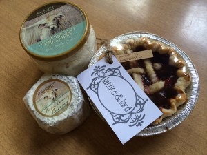 Fromage Blanc, Boone County Bloomy and a strawberry balsamic pie from Traders Point Creamery.