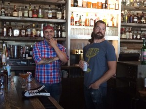 Thunderbird owner Joshua Gonzales, left, competed against chef Aaron Butts of Joseph Decuis in a recent cocktail competition.